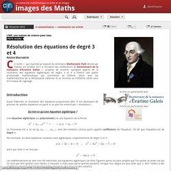 Résolution des équations de degré 3 et 4