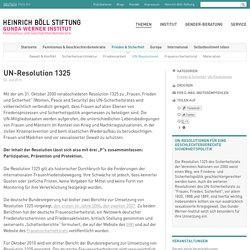 UN-Resolution 1325 - UN-Resolutionen - Gunda-Werner-Institut