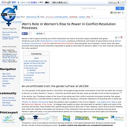 Men's Role in Women's Rise to Power in Conflict-Resolution Processes - wikigender.org