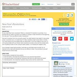 New Year's Resolutions: Lesson Plan for Teachers (Grades 4-8)