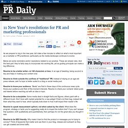 11 New Year's resolutions for PR and marketing professionals