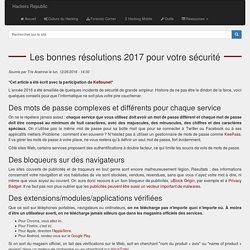 Les bonnes résolutions 2017 pour votre sécurité