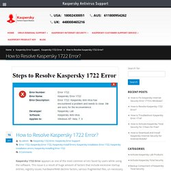 How to Resolve Kaspersky 1722 Error? Dial +18002430051