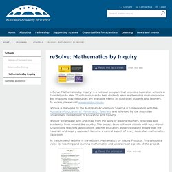 reSolve: Mathematics by Inquiry | Australian Academy of Science