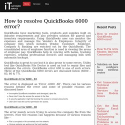 How to resolve QuickBooks 6000 error?