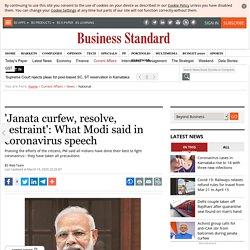'Janata curfew, resolve, restraint': What Modi said in coronavirus speech
