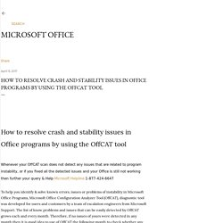 How to resolve crash and stability issues in Office programs by using the OffCAT tool