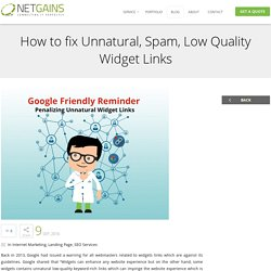 Learn to resolve unnatural spam widget links