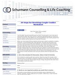 10 Steps for Resolving Couple Conflict Worksheet
