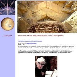 Resonance in Paleo-Sanskrit Inscriptions on the Great Pyramid