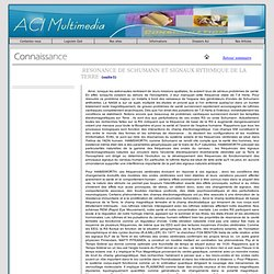 Résonance de Schumann articles du Magazine aci multimedia