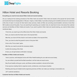 Hilton Hotel and Resorts Booking