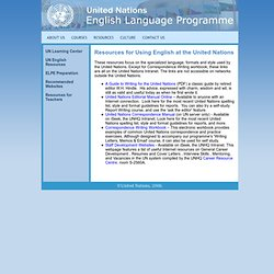 Resouces for Using English at the United Nations