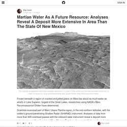 Martian Water As A Future Resource: Analyses Reveal A Deposit More Extensive In Area Than The State Of New Mexico