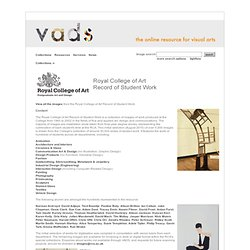 VADS: the online resource for visual arts - Royal College of Art Record of Student Work