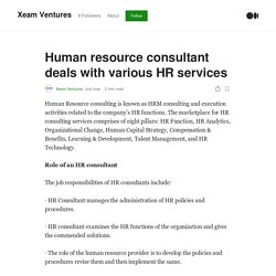 Human resource consultant deals with various HR services