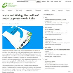 Myths and Mining: The reality of resource governance in Africa