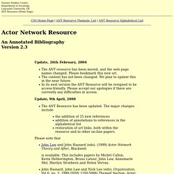 The Actor Network Resource, Lancaster University