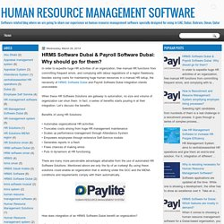 HUMAN RESOURCE MANAGEMENT SOFTWARE : March 2014
