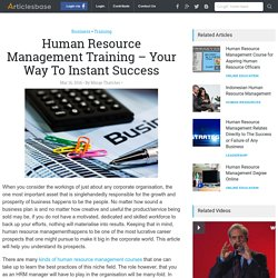 Human Resource Management Training – Your Way To Instant Success