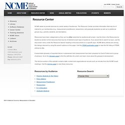 Resource Center - National Council on Measurement in Education