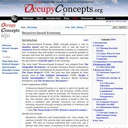 Resource-based Economy - OccupyConcepts