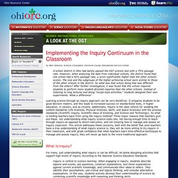 Implementing the inquiry Continuum in the Classroom