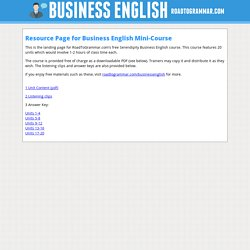 Resource Page for Serendipity Business English Mini-Course