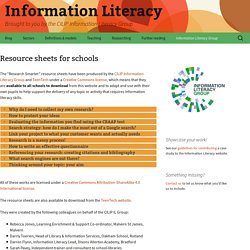 Resource sheets for schools