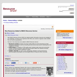 New Resources Added to EBSCO Discovery Service