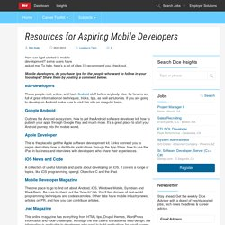 Resources for Aspiring Mobile Developers - Dice Insights