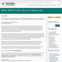 IT Audit Automation: Windows Baseline Audits