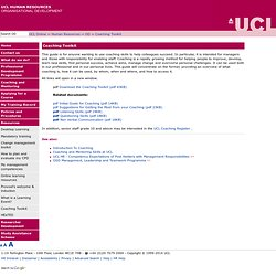 UCL Human Resources - Coaching Toolkit