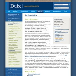 Duke Human Resources: Confidentiality