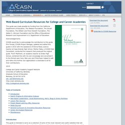 CCASN: Resources: Web-Based Curriculum Resources for College and Career Academies
