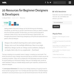 20 Resources for Beginner Designers & Developers