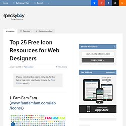 Top 25 Free Icon Resources for Web Designers