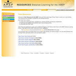 Resources: Tutor Resources - 1 Welcome
