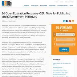 80 Open Education Resource (OER) Tools for Publishing and Development Initiatives