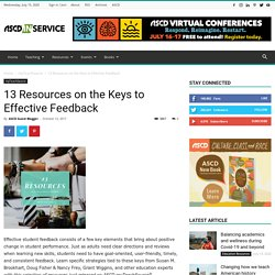 13 Resources on the Keys to Effective Feedback - ASCD Inservice