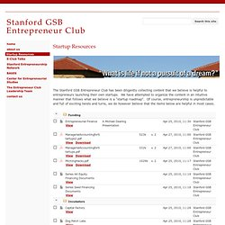 Startup Resources - Stanford GSB Entrepreneur Club