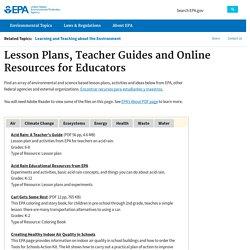 Lesson Plans, Teacher Guides and Online Resources for Educators