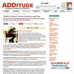 ADHD at School: Resources for Teachers of ADD Children