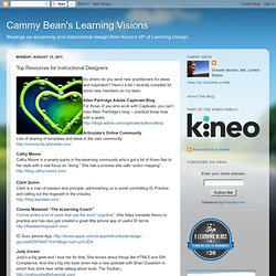 Visions d'apprentissage Cammy Bean: Haut Ressources pour les concepteurs pédagogiques