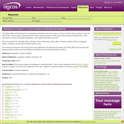 AGCAS: Resources - Starting Your Career In - Country Guides for International Students