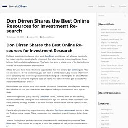 Don Dirren Shares the Best Online Resources for Investment Research
