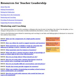 Resources for Teacher Leadership: Mentoring and Coaching