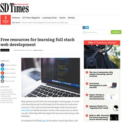 Free resources for learning full stack web development
