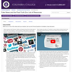 List of Resources - Fake News and the Post-Truth Era - LibGuides at Columbia College (SC)