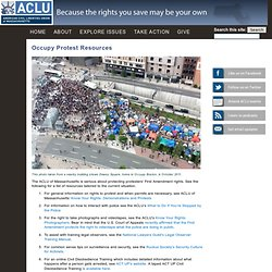 Occupy Protest Resources | ACLU of Massachusetts